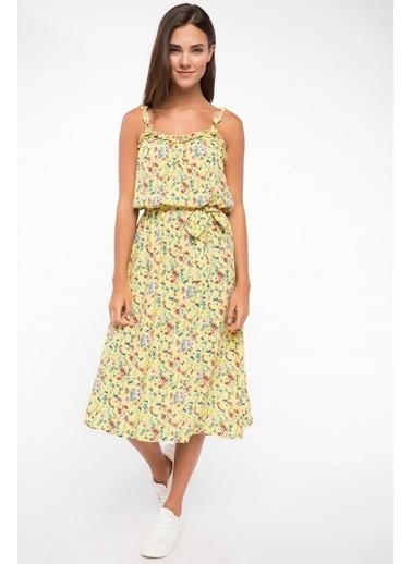 DeFacto Belden Kuşak Detaylı Çiçek Desenli Askılı Elbise Sarı